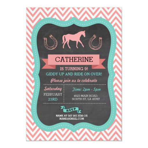 Horse Riding Party Invite Chevron Pony Invitation