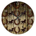Horses and Horseshoes on Wood  backround Gifts Large Clock