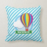 Hot Air Balloon; Blue & White Stripes Throw Pillow | Zazzle