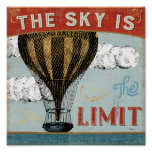 Hot Air Balloon Sky Is The Limit Quote Poster