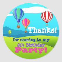 ot Air Balloon 6th Birthday Party Favor Sticker