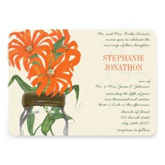 Hot Bright Orange Mason Jar Wild Flower Wedding Custom Announcement