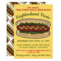 Hot Dog Neighborhood Reunion Picnic Cookout Party Card