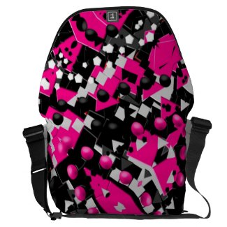 Hot Pink Abstract Messenger Bags