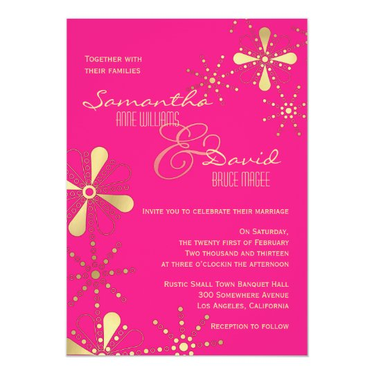 Hot Pink And Gold Indian Inspired Wedding Invitation