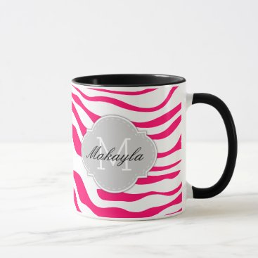 Hot Pink and White Zebra Stripes with monogram Mug