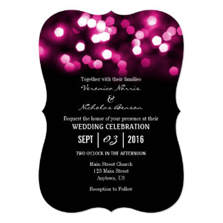 Hot Pink Black Laser Cut Wedding Invitations