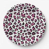 Hot Pink Black Leopard Animal Print Pattern Paper Plate ...