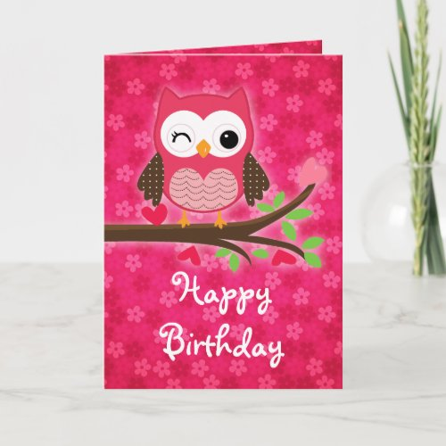 Hot Pink Cute Owl Girly Happy Birthday Card