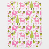 Hot Pink Deer Personalized Baby Blanket