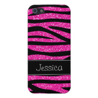 Hot Pink Faux Glitter Zebra Personalized iPhone 5/5S Case