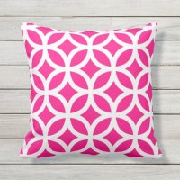 Hot Pink Geometric Pattern Outdoor Pillows