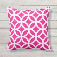 Hot Pink Geometric Pattern Outdoor Pillows   Zazzle