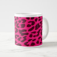 Hot Pink Leopard Animal Print Jumbo Mug on Zazzle