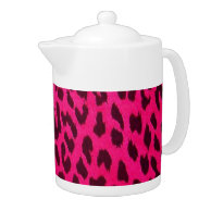 Hot Pink Leopard Print Teapot on Zazzle