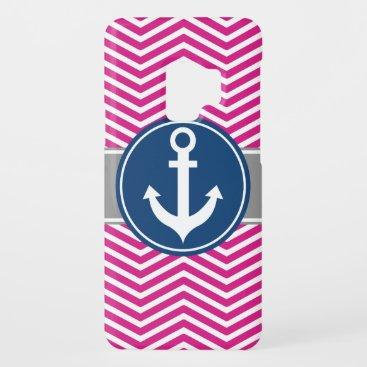 Hot PInk Nautical Anchor Chevron Case-Mate Samsung Galaxy S9 Case