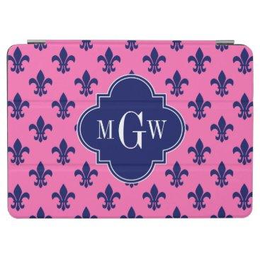 Hot Pink Navy Fleur de Lis Navy 3 Init Monogram iPad Air Cover