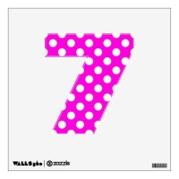 Hot Pink Polka Dot Number 7 Wall Decal | Zazzle