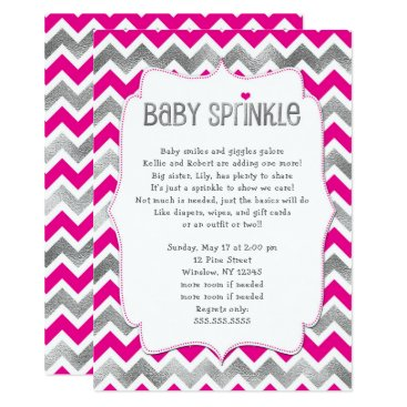 Hot Pink Silver Girl Baby Sprinkle invitations