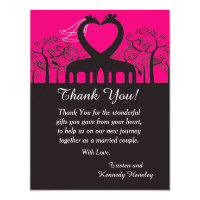 Hot Pink Whimsical Giraffe 4x5 Flat Thank You Card