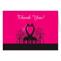 Hot Pink Whimsical Girafffe Folded Thank You Card