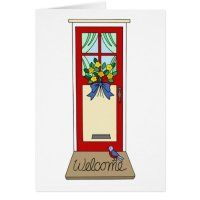 House Front Door Welcome Mat Card | Zazzle