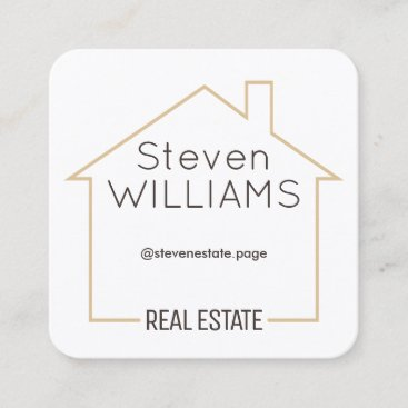 House shape tan frame square business card