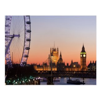 Houses of Parliament & the London Eye Postcard