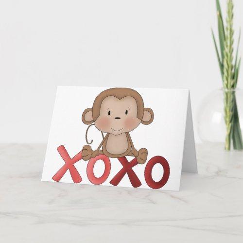 Hugs and Kisses monkey Holiday Card