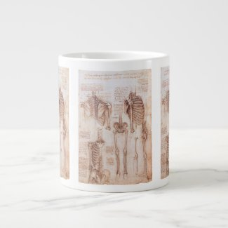 Human Anatomy Skeletons by Leondardo da Vinci 20 Oz Large Ceramic Coffee Mug