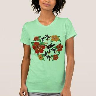 Hummingbird and Hibiscus Batik Tee Shirt