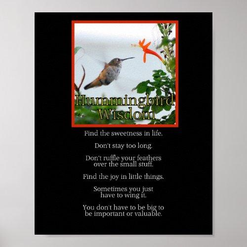 Hummingbird Wisdom Poster print