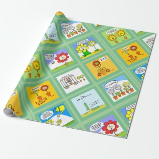 Flower Gardening Cartoon Wrapping Paper