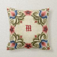Hungarian Needlework Throw Pillow