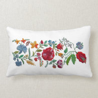 Hungarian Rhapsody #2 Folk Embroidery Lumbar Pillow
