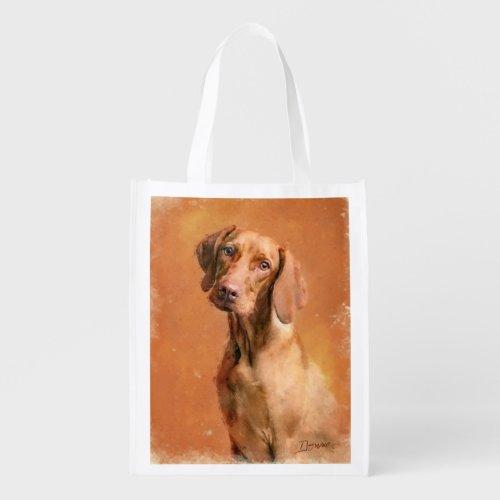 Hungarian Vizsla Dog Art Painting Grocery Bag