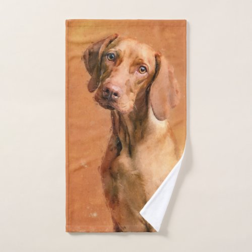Hungarian Vizsla Dog Art Painting Hand Towel