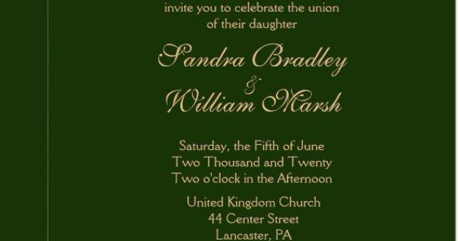 Hunter Green And Gold Wedding Invitation Zazzle Com