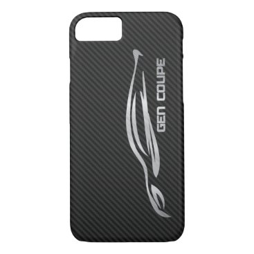 Hyundai Genesis Coupe - Silver on Faux Carbon iPhone 8/7 Case