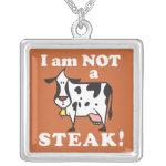 I am not a Steak Vegan Message Necklace
