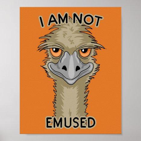 I Am Not Emused Funny Emu Pun | Orange Poster