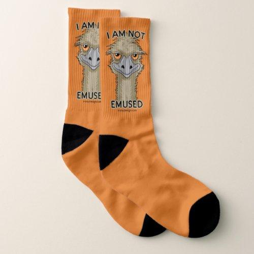 I Am Not Emused Funny Emu Pun   Orange Socks