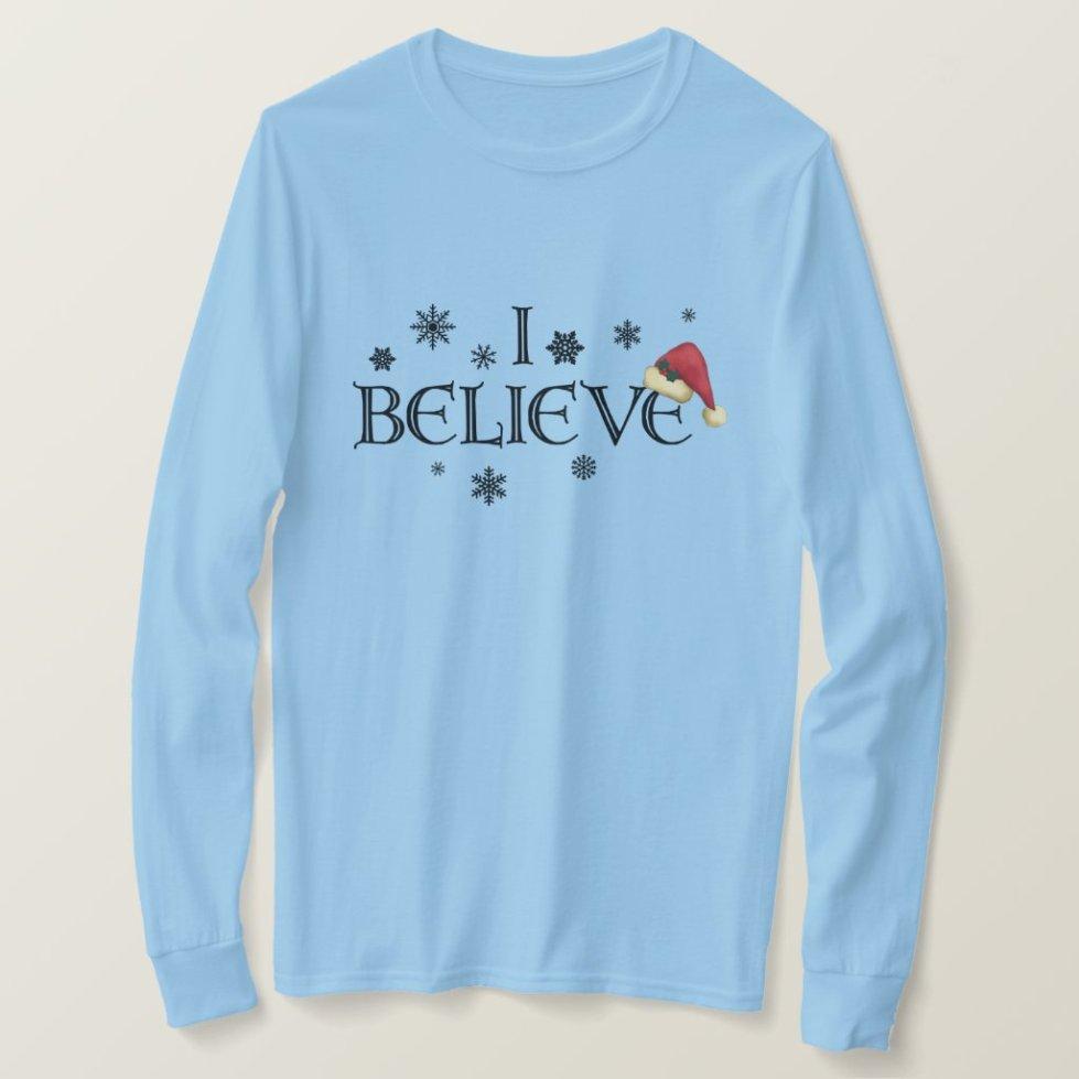 I Believe Christmas shirt Snowflakes & Santa cap