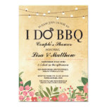 Simple Stylized Pink Floral & Gold I Do BBQ Invitation