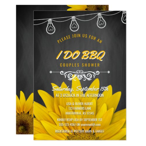 I Do BBQ Rustic Sunflowers Couples Shower Chalk Invitation
