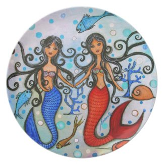 I do, Mermaid Couple Painting by Prisarts Party Plates
