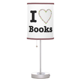 I Heart Books - I Love Books! Colorful Swirls Desk Lamp