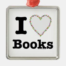 I Heart Books - I Love Books! Colorful Swirls Metal Ornament
