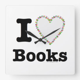 I Heart Books - I Love Books! Colorful Swirls Square Wall Clock