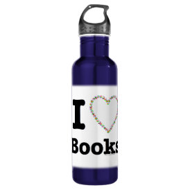 I Heart Books - I Love Books! Colorful Swirls Stainless Steel Water Bottle